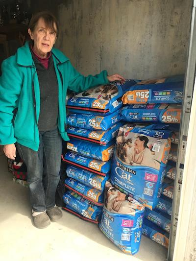 Bags of cat food donated to Brenda's